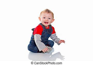 chłopiec, odizolowany, tło, niemowlę, portret, uśmiechanie się, biały