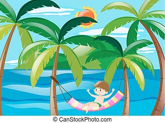 chłopiec, odprężając, morze
