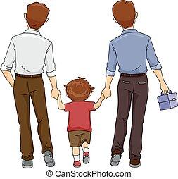 chłopiec, ojcowie, koźlę, dwa, chód