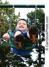 chłopiec, park, dziecko