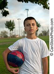 chłopiec, piłka nożna, ball.