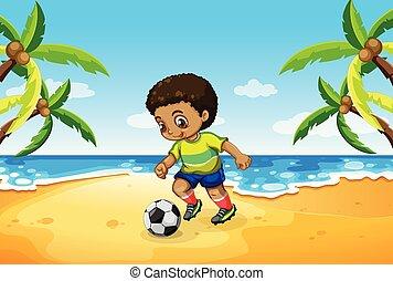 chłopiec, piłka nożna, plaża, interpretacja
