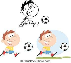 chłopiec, piłka nożna, zbiór, ball.