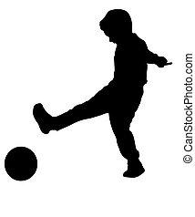 chłopiec, piłka, sylwetka