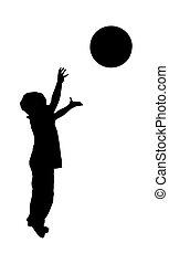chłopiec, piłka, wyrzucanie, na, biały czerwony