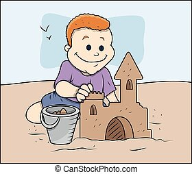 chłopiec, piasek zamek, zrobienie, rysunek