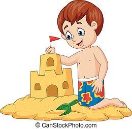 chłopiec, piasek, zrobienie, zamek, rysunek, szczęśliwy
