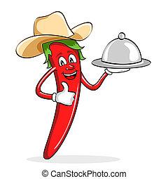 chłopiec, pieprz, krowa, chili, kapelusz, czerwony