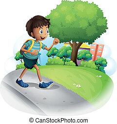 chłopiec, pieszy, ulica, wzdłuż, torba