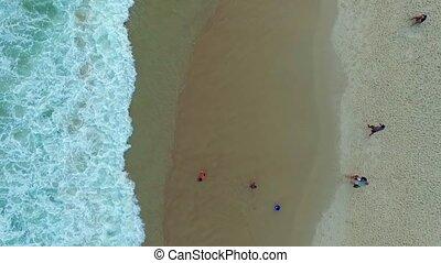 chłopiec, plaża., copacabana, woda, shevelev., interpretacja, człowiek