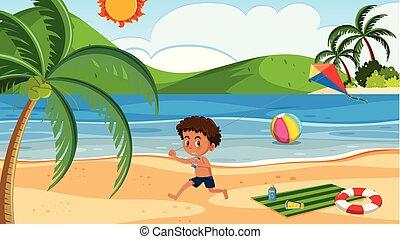 chłopiec, plaża, kania, interpretacja