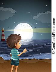 chłopiec, plaża, młody