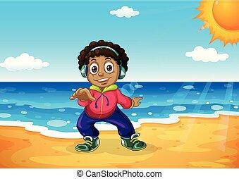 chłopiec, plaża