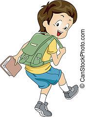 chłopiec, plecak, 2, student, koźlę