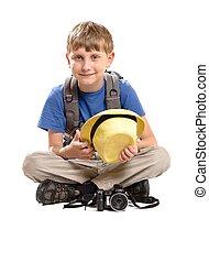 chłopiec, plecak, turyści