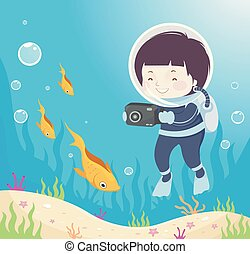 chłopiec, podwodny, fish, ilustracja, aparat fotograficzny, koźlę