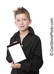 chłopiec, pokaz, uroczy, tablet.