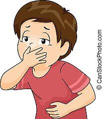 chłopiec, pokryć, usta, rzucić, koźlę