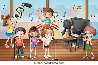 chłopiec, polowanie, śpiew, koncert, przyjaciele