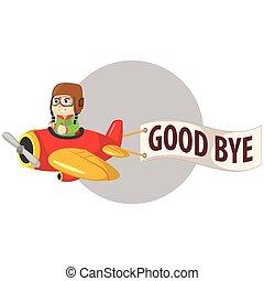 chłopiec, powiedzieć, samolot, do widzenia, jeżdżenie