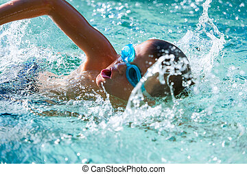 chłopiec, practice., pływacki