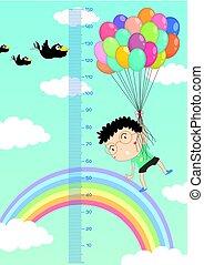 chłopiec, przelotny, niebo, wykres, wysokość, tło, mierzenie, balony