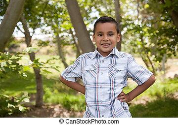 chłopiec, przystojny, park, młody, hispanic