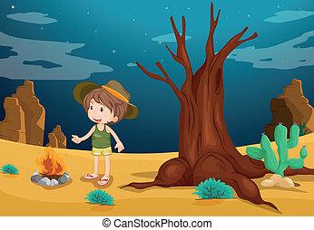 chłopiec, pustynia, młody