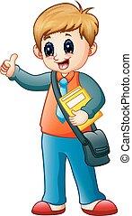 chłopiec, ręka, falować, książka, dzierżawa, rysunek
