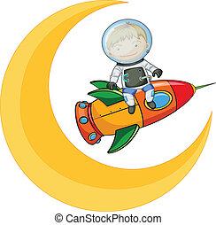 chłopiec, rakieta, księżyc