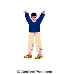 chłopiec, reputacja, z, jego, herb podniesiony, mały, pierwotny student, elementarna szkoła, uczeń, wektor, ilustracja
