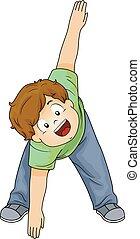 chłopiec, rozciąganie, ilustracja, koźlę