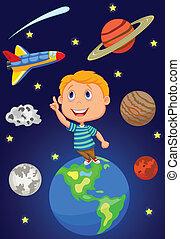 chłopiec, rysunek, niebo, patrząc