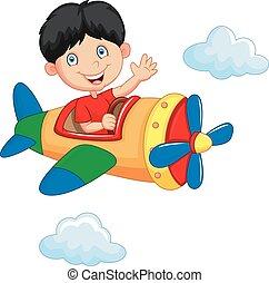 chłopiec, samolot, rysunek, jeżdżenie