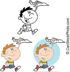 chłopiec, samolot, wyścigi, zabawka