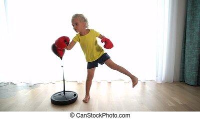chłopiec, siostra, rękawiczki, brat, poncze, boks, gruszka, ...