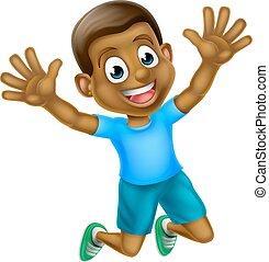 chłopiec, skokowy, czarnoskóry, rysunek, szczęśliwy