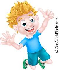 chłopiec, skokowy, rysunek, szczęśliwy