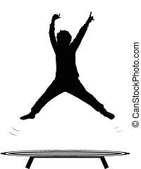 chłopiec, skokowy, trampolina
