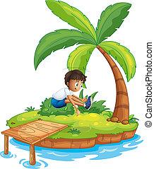 chłopiec, skokowy, wyspa