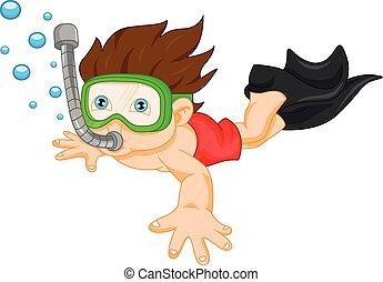chłopiec, snorkeling