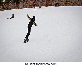 chłopiec, snowboard