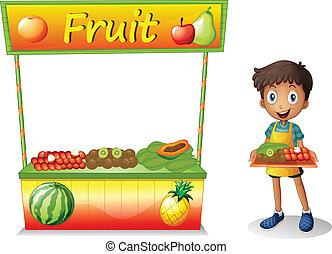 chłopiec, sprzedajcie, młody, owoce