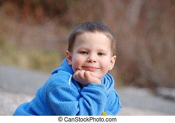 chłopiec, stary, zadowolenie, 4, rok, szczęśliwy