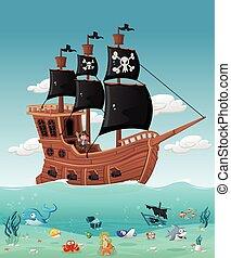 chłopiec, statek, pirat, rysunek