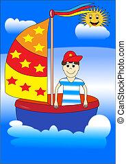 chłopiec, statek