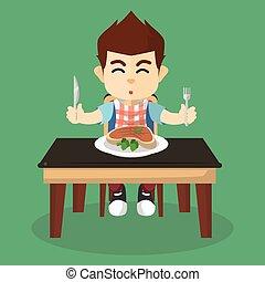 chłopiec, stek, jeść