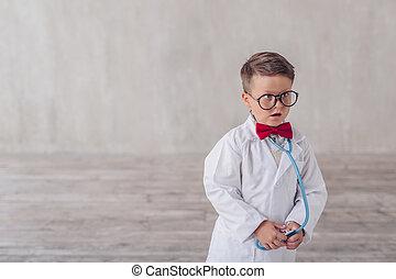 chłopiec, stetoskop, zdziwiony