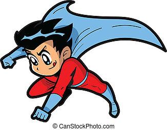 chłopiec, superhero, anime, manga