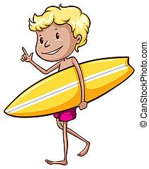 chłopiec, surfing